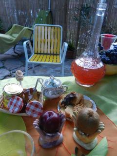 fruits de saison, confitures maison, petits gâteaux, café italien, thé, laitages, miels,....