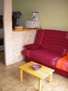 Salon, canapé deux couchages, coin café- bar