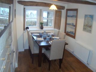 dining kitchen with views of the village green and the hills beyond