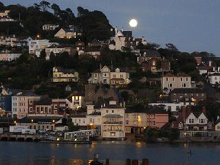 moon rising over Kingswear (across river from Dartmouth)  - photo taken from lounge