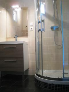 Ensuite shower with upstairs king bedroom