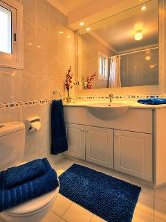 Upstairs bathroom for twin room with large double shower and towels provided.