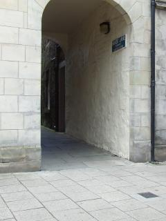 Arched entrance off south street  into Baker Lane