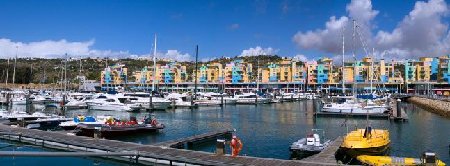 The Albufeira Marina wharf and dining areas just a 200 metre walk from our apartment