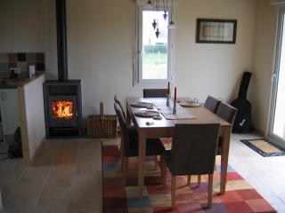 Dining area with log burner