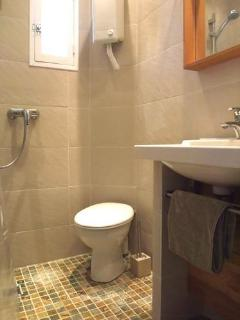 Modern compact bathroom with toilet, shower, vanity and mirror plus heated towel rail