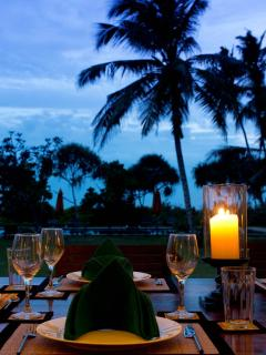 Dinner is taken on the terrace