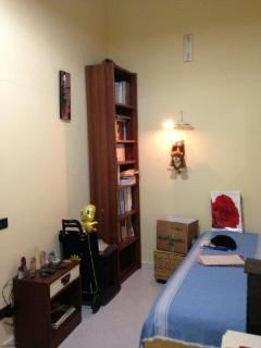 Second room, other side with bed and bookcase