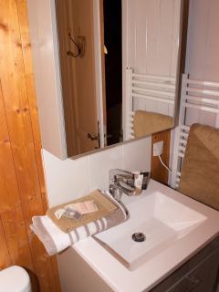 salle d'eau compacte avec sèche serviettes et grande douche 80x120cm