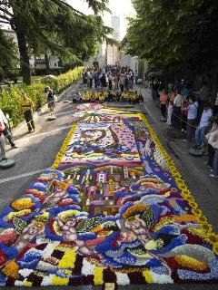 The Infiorata held at Spello to celebrate Corpus Domini