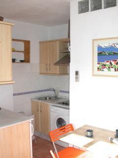 Cocina integrada en el salón con lavadora