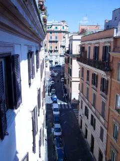 the view from the bedroom to the street