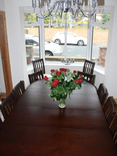 Chandelier lit dining