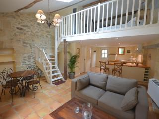 The main room with stone walls