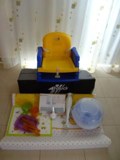 Travel cot, booster seat. night light, baby monitor, steriliser, changing mat, blender,  & crockery
