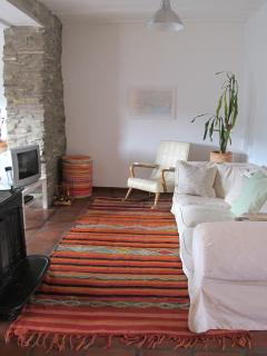 Open plan living room showing wood burning fire