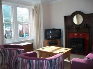 Spacious lounge with original fireplace.  Free wifi is available throughout the apartment.