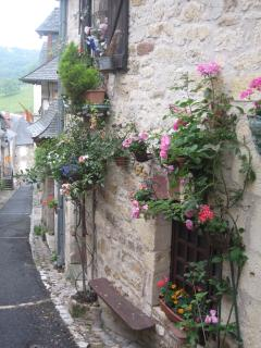 One of the pretty colourful streets in the centre of the village