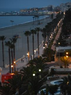 The promenade is well lit for those wanting an evening stroll