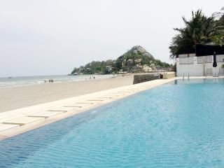 Swimming Pool with view to Khao Takiep, the landmark of Hua Hin beach