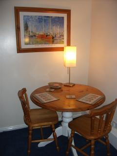 Dining area with Complimentary Welcome Basket