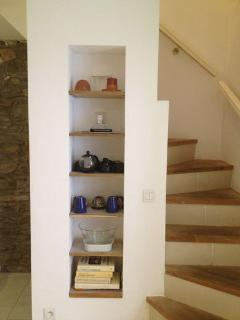 Quaint Kitchen Storage Niche - with phone, tablet, device recharging shelf