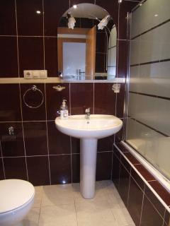 Family bathroom with shower over bath & bidet