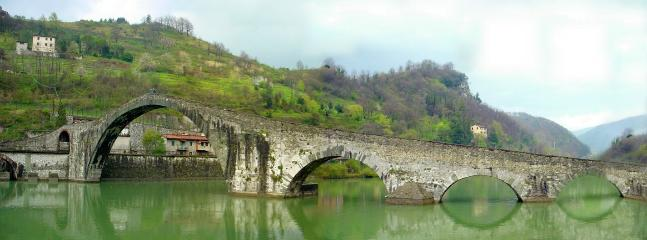Ancient Devil's Bridge at nearby Borgo a Mozzano