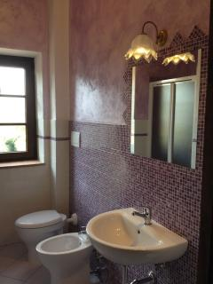 Bathroom with purple tiles, with sink, bidet, toilet and shower.