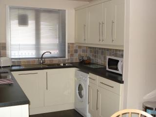 The modern kitchen featuring dishwasher, washer/dryer, fridge/freezer and hob/oven.
