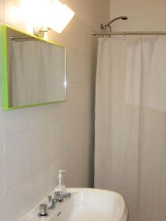 Bathroom with shower, sink, bidet, hair dryer