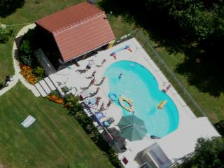 Pool and information room aerial shot