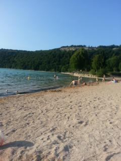 Sandy beach at Lac de Chalain