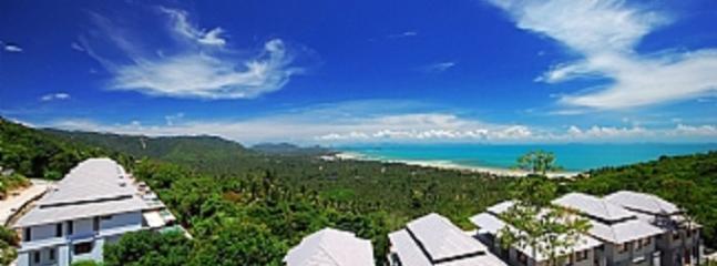 Uitzicht over bovenkant van Amera villa's. fisheye uitzicht