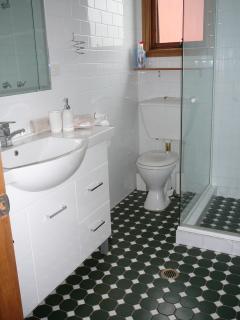 Bathroom tiled floor to ceiling