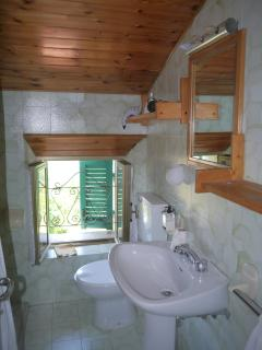 bathroom with toilet, bidet, wash hand basin, shower and half bath