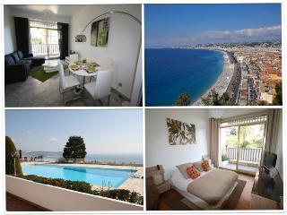 Luxueux 2 Pièces à Nice, 4 pers +1 bébé, terrasse vue mer, piscine