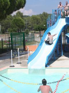 Fun at the pools .