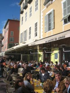 Great outdoor cafe people watching in Old Town Nice - fabulous atmosphere also at night
