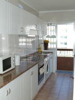 Fully modernised kitchen with fridge/freezer, washing machine, microwave etc.