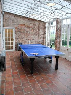 Table Tennis In The Conservatory, or outside (all-weather surface)