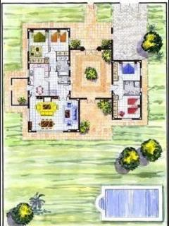 Floor plan of ground floor rooms, please refer to description for bed layout as this differs .