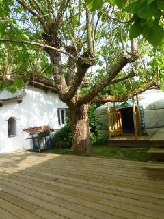 La terrasse, la yourte et la petite maison