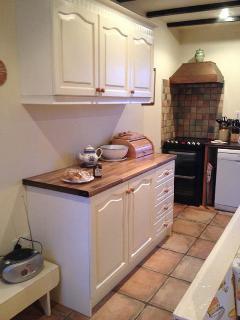 Modern kitchen , seats six.