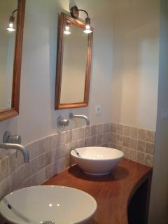 Just one of the 6 ensuite shower rooms - all with double wash basins, large shower, wc, hair dryer.