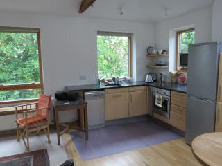 Openplan lounge dining room kitchen facing south. Very light and sunny