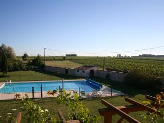 View from Rose master bedroom - 15m x 8m heated swimming pool (fenced)