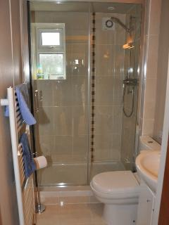 Shower room enclosed cubicle with toilet and wash-hand basin