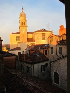 Open the bedroom windows and marvel at the Chiesa dell'Angelo Raffaele in early morning sunshine