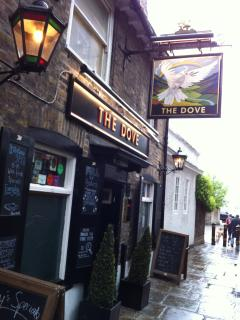 Oldest London pub Dove Pub on Thames at Hammersmith. A public house has stood on this site since 17C